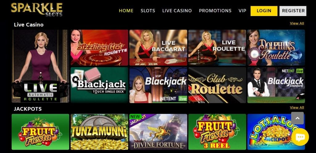 Sparkle Slots Live Casino UK