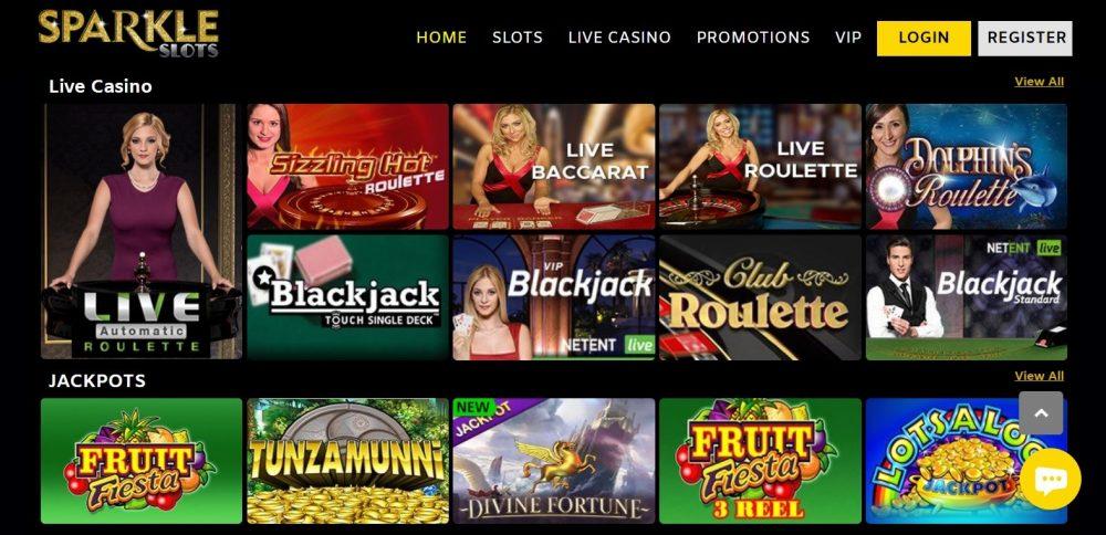 Sparkle Slots Live Casino UK
