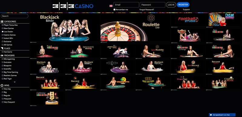 333 live casino