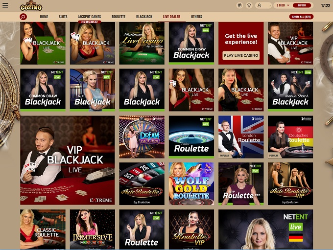 Cozino live casino dealer uk